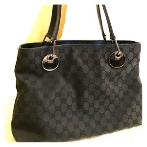 Gucci GG Logo Black Canvas & Leather 3section Tote